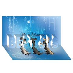 Merry Chrsitmas Best Sis 3d Greeting Card (8x4)