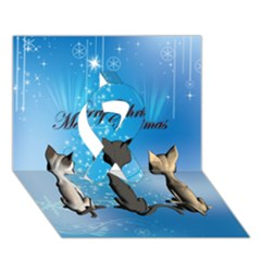 Merry Chrsitmas Ribbon 3D Greeting Card (7x5)