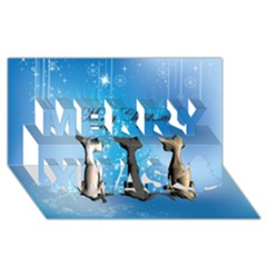 Merry Chrsitmas Merry Xmas 3D Greeting Card (8x4)