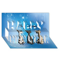 Merry Chrsitmas Happy New Year 3d Greeting Card (8x4)