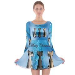 Merry Chrsitmas Long Sleeve Skater Dress