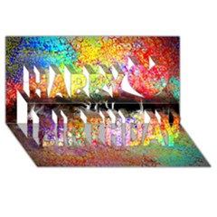 Colorful Tree Landscape Happy Birthday 3D Greeting Card (8x4)