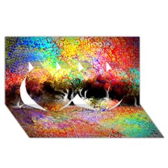 Colorful Tree Landscape Twin Hearts 3d Greeting Card (8x4)