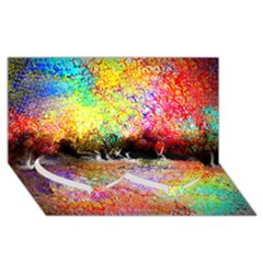 Colorful Tree Landscape Twin Heart Bottom 3D Greeting Card (8x4)
