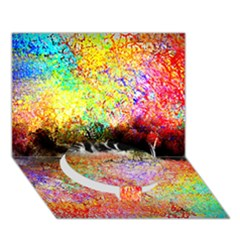 Colorful Tree Landscape Circle Bottom 3d Greeting Card (7x5)
