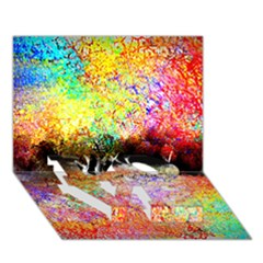 Colorful Tree Landscape Love Bottom 3d Greeting Card (7x5)