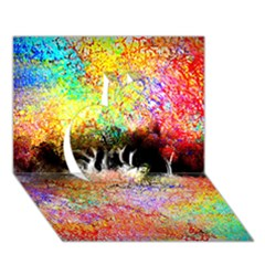 Colorful Tree Landscape Apple 3D Greeting Card (7x5)
