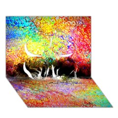 Colorful Tree Landscape Clover 3D Greeting Card (7x5)