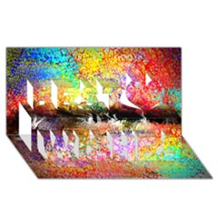 Colorful Tree Landscape Best Wish 3D Greeting Card (8x4)