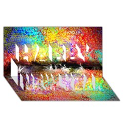 Colorful Tree Landscape Happy New Year 3D Greeting Card (8x4)