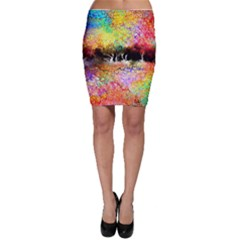 Colorful Tree Landscape Bodycon Skirts