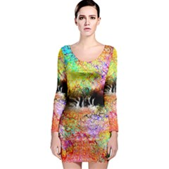 Colorful Tree Landscape Long Sleeve Bodycon Dresses