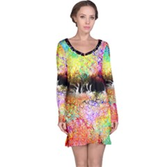 Colorful Tree Landscape Long Sleeve Nightdresses