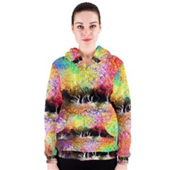 Colorful Tree Landscape Women s Zipper Hoodies