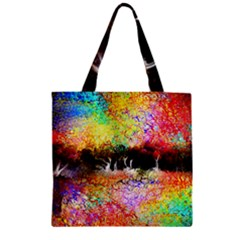 Colorful Tree Landscape Zipper Grocery Tote Bags