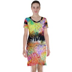 Colorful Tree Landscape Short Sleeve Nightdresses