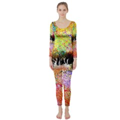Colorful Tree Landscape Long Sleeve Catsuit