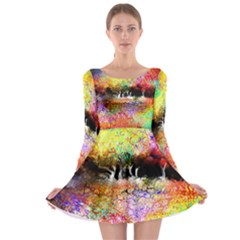 Colorful Tree Landscape Long Sleeve Skater Dress