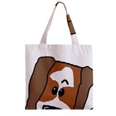 Peeping Shih Tzu Zipper Grocery Tote Bags