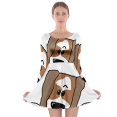 Peeping Shih Tzu Long Sleeve Skater Dress