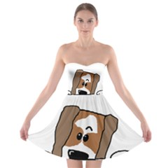 Peeping Shih Tzu Strapless Bra Top Dress