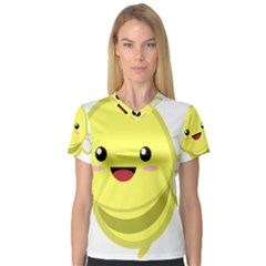 Kawaii Bee Women s V-Neck Sport Mesh Tee