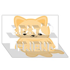 Kawaii Cat Best Friends 3d Greeting Card (8x4)