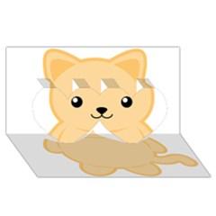 Kawaii Cat Twin Hearts 3D Greeting Card (8x4)