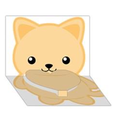 Kawaii Cat Heart Bottom 3D Greeting Card (7x5)