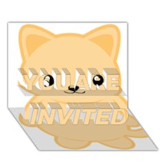 Kawaii Cat You Are Invited 3d Greeting Card (7x5)