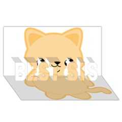 Kawaii Cat Best Sis 3d Greeting Card (8x4)