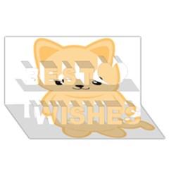 Kawaii Cat Best Wish 3d Greeting Card (8x4)