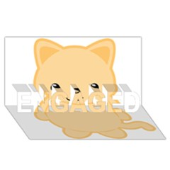 Kawaii Cat Engaged 3d Greeting Card (8x4)