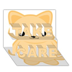 Kawaii Cat TAKE CARE 3D Greeting Card (7x5)
