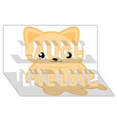 Kawaii Cat Laugh Live Love 3D Greeting Card (8x4)