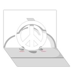 Kawaii Cloud Peace Sign 3D Greeting Card (7x5)