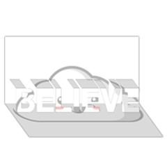 Kawaii Cloud BELIEVE 3D Greeting Card (8x4)