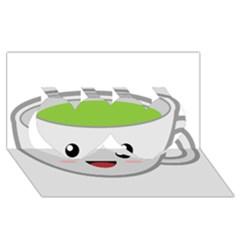 Kawaii Cup Twin Hearts 3d Greeting Card (8x4)