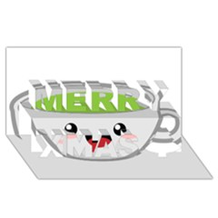 Kawaii Cup Merry Xmas 3D Greeting Card (8x4)