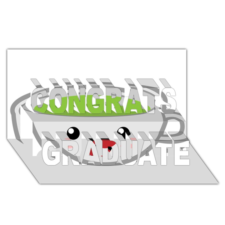 Kawaii Cup Congrats Graduate 3D Greeting Card (8x4)