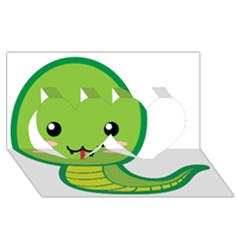 Kawaii Snake Twin Hearts 3d Greeting Card (8x4)