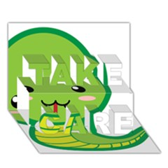 Kawaii Snake TAKE CARE 3D Greeting Card (7x5)
