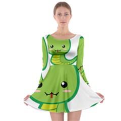 Kawaii Snake Long Sleeve Skater Dress