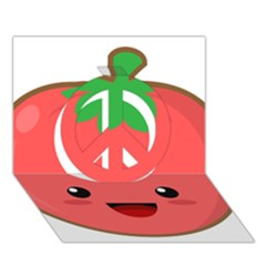 Kawaii Tomato Peace Sign 3d Greeting Card (7x5)