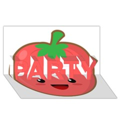 Kawaii Tomato Party 3d Greeting Card (8x4)