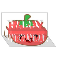 Kawaii Tomato Happy New Year 3D Greeting Card (8x4)
