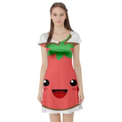 Kawaii Tomato Short Sleeve Skater Dresses