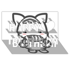 Kawaii Zebra Happy Birthday 3D Greeting Card (8x4)