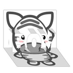 Kawaii Zebra BOY 3D Greeting Card (7x5)