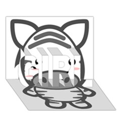 Kawaii Zebra GIRL 3D Greeting Card (7x5)